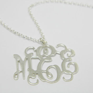 0.8 inch Initials Personalized Monogram Necklace - Sterling silver 925. birthday gift for mom sister wife, bff gift, monogram jewelry.