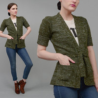Vintage 70s Olive Green Sweater Fitted Acrylic Knit Fitted Cardigan Boho Hippie Belted Jacket Extra Small XS