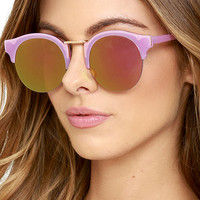 Live Your Life Pink and Green Mirrored Sunglasses