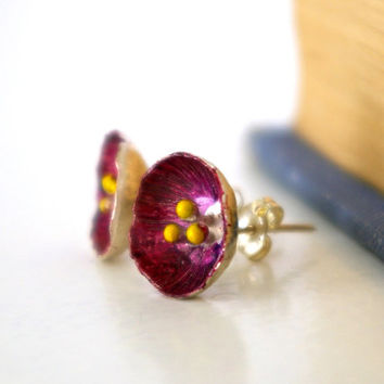 Burgundy Stud Earrings Buttercup