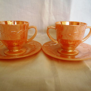 Retro Cup and Saucer / Fire King / Peach Luster / Marigold / Antique Glass / 1960's
