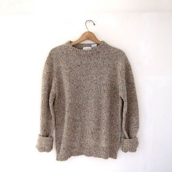 STOREWIDE SALE...vintage natural taupe speckled sweater. oversized pullover sweater.