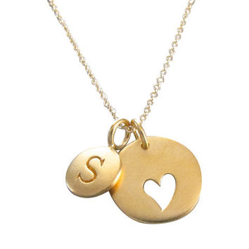 Gold Initial & Heart Charm Necklace