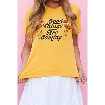 """Good Things Are Coming"" Graphic Tee (Mustard)"
