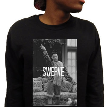 "Fresh Prince of Bel Air Will Smith ""SWERVE"" Mens Black or White Crewneck Sweatshirt Sweater ***FREE SHIPPING***"