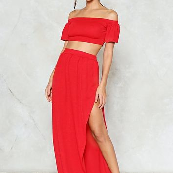 Off Shoulder Crop & Maxi Skirt Co-Ord