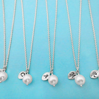 White, Pearl, Italic, Font, Set of 3, 4, 5, 6, 7, 8, 9, 10,  Silver, Initial, Leaf, Personalized, Necklace, Bridemaids, Gift, Wedding
