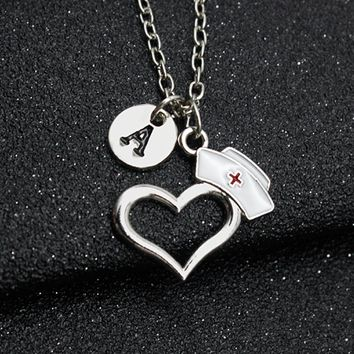 26 Letters Nurse's Prayer Heart, Nurse Cap Pendant Personal Necklace Doctor Nursing Graduation Creative Gift