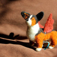 Tiny Felt Corgi with 2 Costumes: Angel / Devil Wings