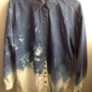 Dip-Dyed Bleached Denim Long-Sleeve Shirt (Made to Order)