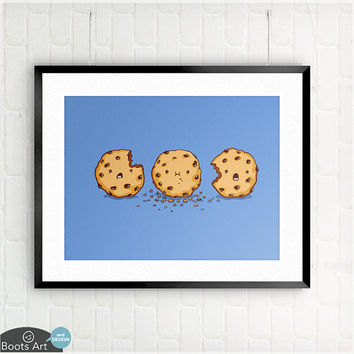 Cannibalism - matted art print. 5x7 or 8x10. Cute kitchen or kids room wall art.