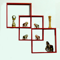 Aakashi Red Intersecting Wall Shelf