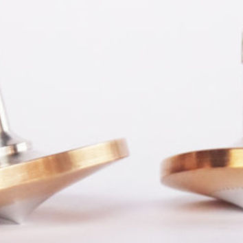 Two spinning tops, Bronze and Aluminum Spinning Tops, Metal Spinning Top, Spinning Top