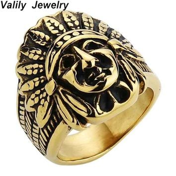 Valily Men Gold Ring Exaggeration Men Indian Face Rings Steampunk Biker Bague Stainless Steel Tibet Tone Aneis Male Jewelry Ring