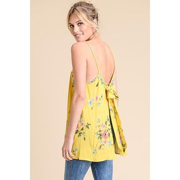 The Jessie Open Back Floral Top - Yellow