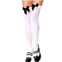 Adult White Thigh High Stockings with Black Bows- Party City