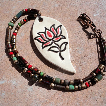 Lotus Flower Statement Necklace, Beaded Necklace, Hand crafted ceramic pottery pendant, Red and Brown