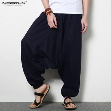 INCERUN Men Joggers Cotton Indian Harem Pants Men Big Crotch Pants Nepal Baggy Linen Pants Men pantalon hombre Plus Size 5XL