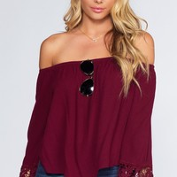 Lexi Off The Shoulder Top - Burgundy