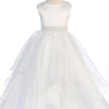 Amazing White Satin and Organza Layered Flower Girl Dress