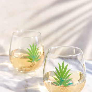 Metallic Pineapple Stemless Wine Glass Set | Urban Outfitters