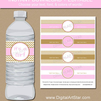 Pink & Gold Baby Shower Water Bottle Labels - EDITABLE Printable Girl Baby Shower Water Labels - Bridal Shower, Wedding, Birthday PDF File