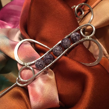 Beaded 8 - Accessories: Scarf Pin / Shawl Pin / Hair Clip
