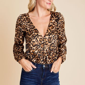 BB Dakota Ride or Tie Leopard Print Body Suit