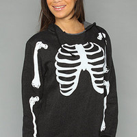 The Skeleton Oversize Pullover Hoody in Black by Wildfox