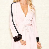 Pink Stretch Knit Short Robe w/Black Lace Trim (Matching Chemise available) (Small-3X)