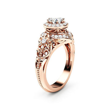 Natural 0.5 Ct. Diamond Engagement Ring 14K Rose Gold Ring Floral Filigree Engagement Ring
