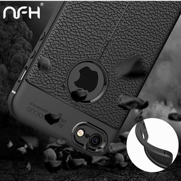 Retro Shockproof Protection Silicone Soft Case For iPhone 5 5SE Slim Bumper Litchi Leather Skin Back Cover For iPhone Case on 5S
