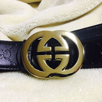 2018@Classic Leather Vintage Belt Gucci Pattern Big G Metal Buckle Men 110cm#4