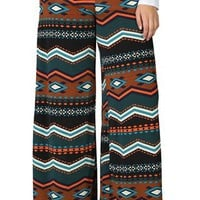 Plus Size Palazzo Pant with Southwest Geo Print
