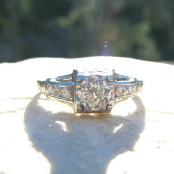 Art Deco Diamond Engagement Ring, Old European Cut Diamond, approx .46 ctw, 18K White Gold, Great Period Design, Circa 1930s