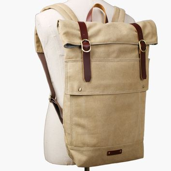 BLUESEBE HANDMADE UNISEX WAXED CANVAS WITH LEATHER STRAP BACKPACK 16001