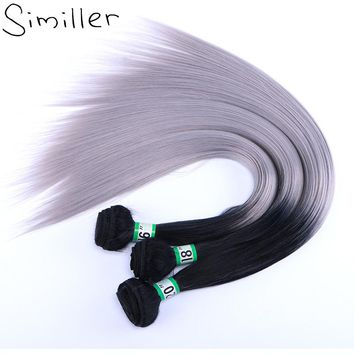 Similler Long Straight Synthetic Hair Weft Black T Grey Two Tones Ombre Bundles Weaving 210g