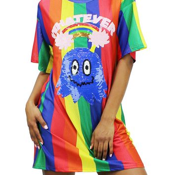 Colorful Sequin Whatever Pacman Graphic Short Sleeve T-Shirt Dress EDD1807