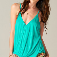TEAL WRAP FRONT TOP