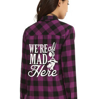 Disney Alice In Wonderland Plaid Girls Woven Top