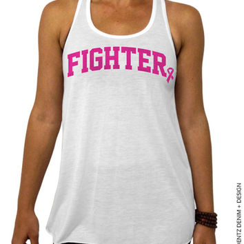 Fighter - Breast Cancer Awareness - White Flowy Tank Top