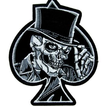 ac spbest Top Hat Death Skull Patch Iron on Applique Alternative Clothing Ace of Spades