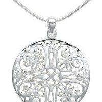"Amazon.com: Sterling Silver Filigree Circle Pendant, 18"": Jewelry"