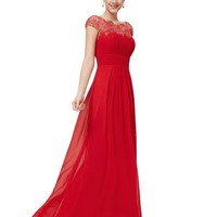 Ever Pretty Women's Cap Sleeve Lace Neckline Ruched Bust Evening Gown 09993