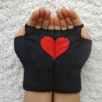 Heart Gloves, Fingerless Black Gloves with Red Felt Heart