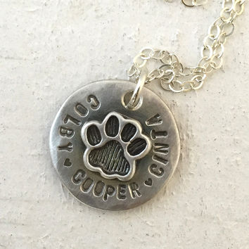 Pet memorial necklace - Pet paw necklace