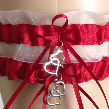Red and White Organza Wedding Garter, Prom Garter