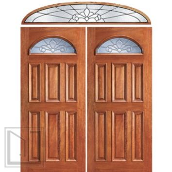 Pre-hung Mahogany Fan Lite External Double Door Elliptical Transom