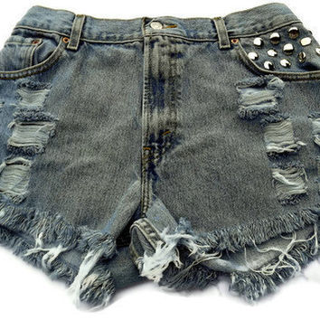 Frayed LevisStudded Cut Offs Vintage High Waisted Blue by twazzy