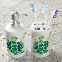 Decorative Toothbrush holder and soap dispenser set - Sea Turtle Love Design - watercolor, colorful, happy,Beach house, bathroom, decor